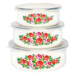 Набор 3 штуки (400 мл, 700 мл, 1000 мл) эмалированных салатников с пластиковыми крышками EM-00003A/50
