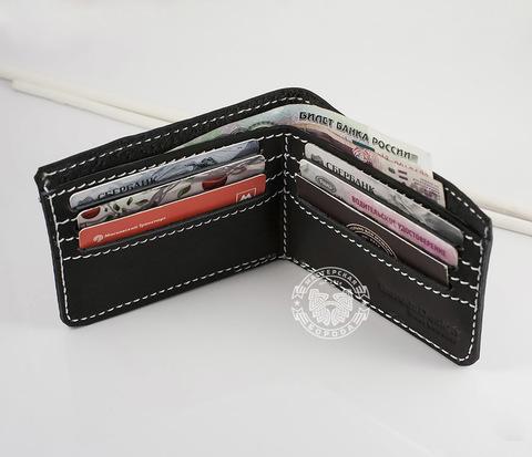WB123-1 Простой кошелек ручной работы из гладкой натуральной кожи. &#34Boroda Design&#34
