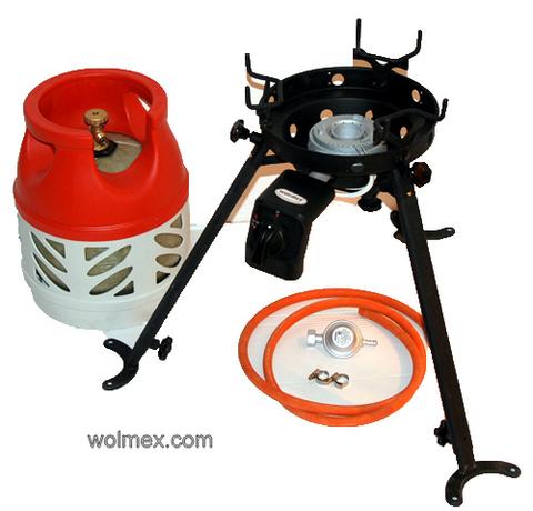 Комплект 33. Горелка газовая для вока Wolmex C3201D с композитным баллоном и редуктором EN61 - Shell