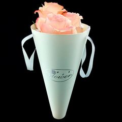 Бумажный конус для цветов Белый 30*14см.