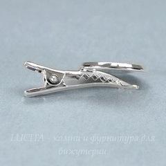 Основа для заколки с сеттингом для кабошона 18 мм, 34х19 мм (цвет - серебро)