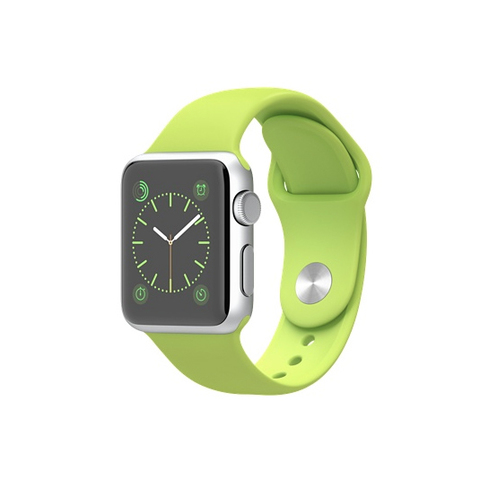 Apple Watch Sport Silver Aluminum Case with Green Sport Band