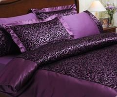 Постельное белье CHRISTINA FLOK фиолетовый сатин шелк с флоком TIVOLYO HOME Турция