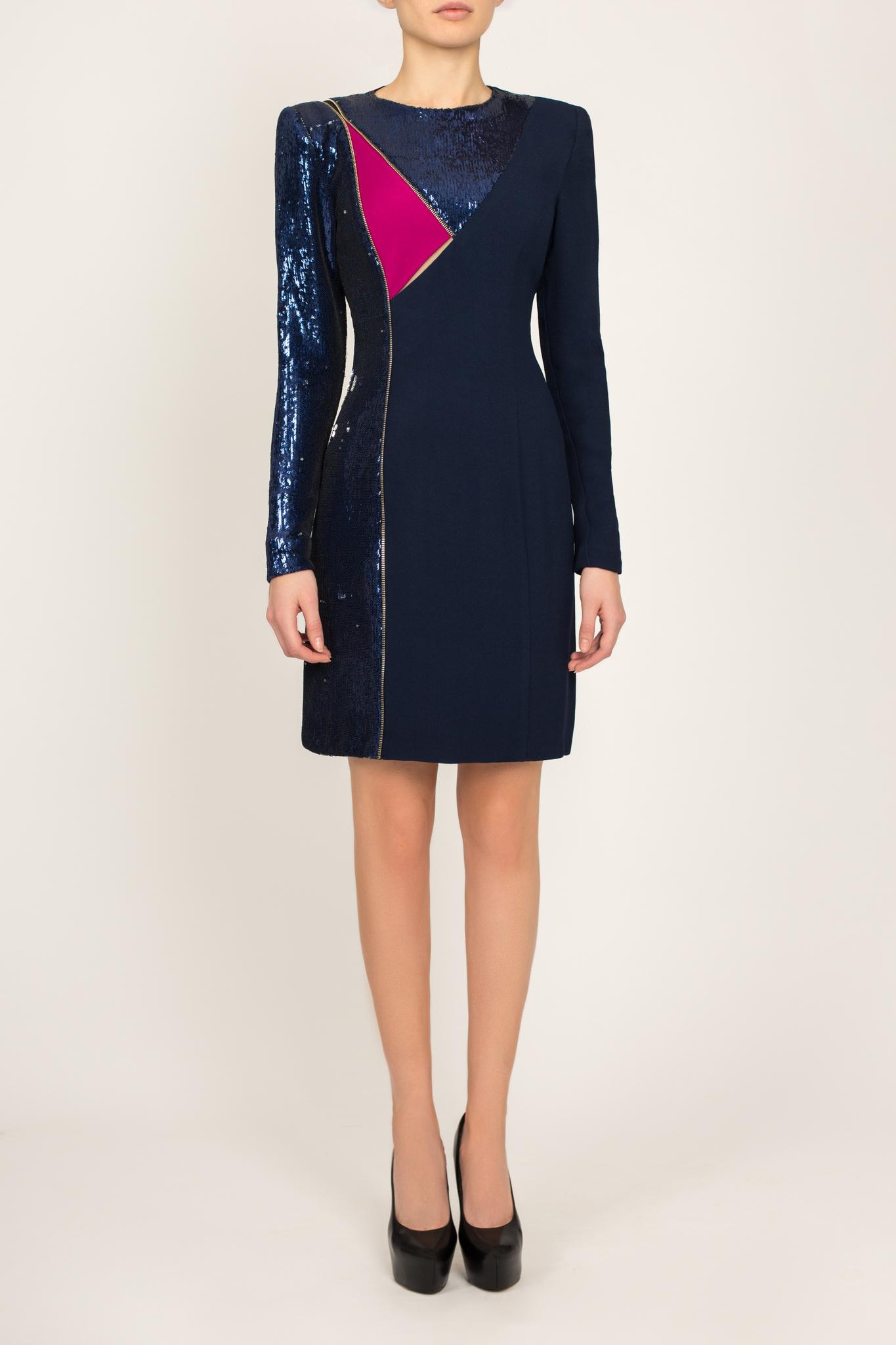 Платье синее с декором из пайеток