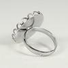 Основа для кольца с сеттингом с ажурным краем для кабошона 20 мм (цвет - платина)