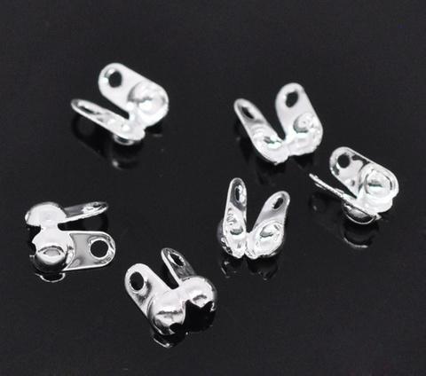 Концевик для маскировки узелка 6х4,5 мм, (цвет - серебро), 20 штук (B13899A)