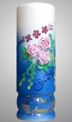 Свеча № 1 большая с налепкой и ручной росписью 3