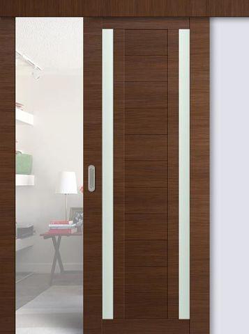 Дверь раздвижная Profil Doors №15Х, стекло матовое, цвет малага черри кроскут, остекленная