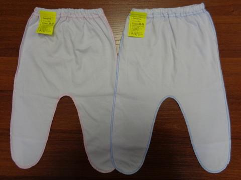 Ползунки белые с отделкой цветной нитью  (кулир)