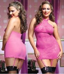 Розовое ажурное платье на бретели-петле (BS)