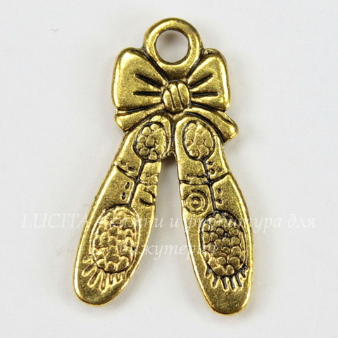 """Подвеска """"Пуанты"""" 20х12 мм (цвет - античное золото)"""