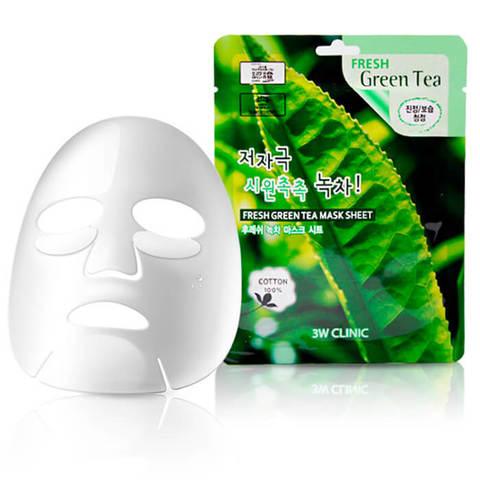 3W Clinic Тканевая маска с экстрактом зеленого чая Fresh Green Tea Mask Sheet