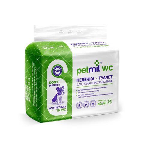 Petmil WC Пеленка 30 шт подстилка впитывающая 60x40 см