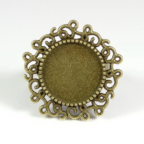 Основа для кольца с сеттингом для кабошона 14 мм (цвет - античная бронза)