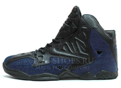 Кроссовки Мужские Nike Lebron 11 Elite Casual Black Leather Jeans