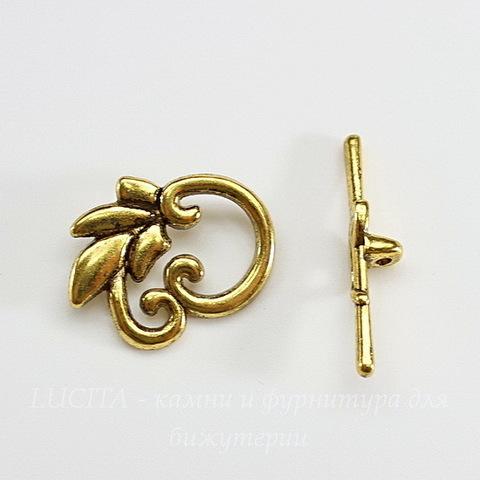 """Замок - тоггл из 2х частей """"Листик"""" 24х19 мм, 33 мм (цвет - античное золото)"""