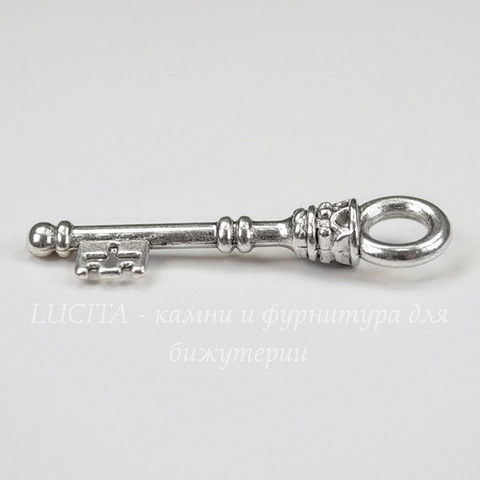 "Подвеска  ""Ключик "" (цвет - античное серебро) 34х8 мм"