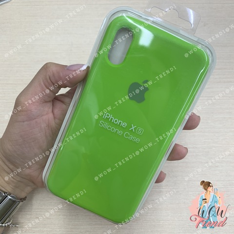 Чехол iPhone X/XS Silicone Case /lime green/ салатовый 1:1