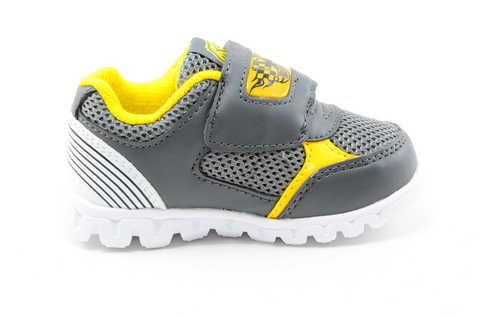 Светящиеся кроссовки для мальчиков Хот Вилс (Hot Wheels), цвет темно серый, мигают картинки сбоку и на липучках. Изображение 4 из 12.