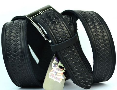 Ремень мужской чёрный для брюк большого размера из натуральной кожи 35 мм российского производства 35RG-B-004