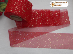 Лента - фатин со звездочками красная ширина 5,5 см