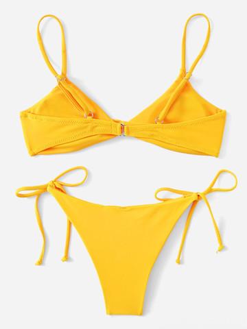 Купальник раздельный желтый с лямками