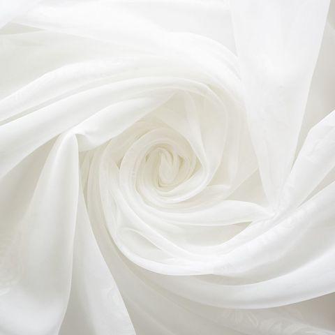Штора готовая однотонная вуаль из ткани капрон | цвет: молочный | размер на выбор