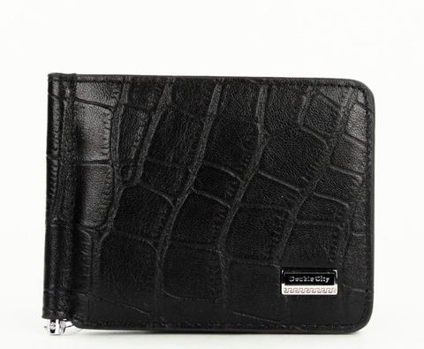Компактный мужской чёрный кошелёк с зажимом для денег из натуральной кожи под крокодила с отделениями для карт и кармашком под мелочь Dublecity 063-DC9-11j