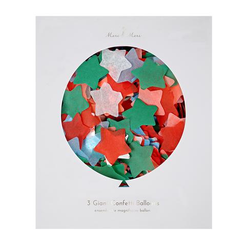 Гигантские прозрачные шары с конфетти в форме звезд, 3шт