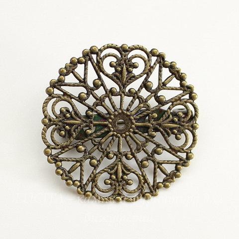 Основа для броши c филигранью 32 мм (цвет - античная бронза)