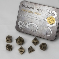 Blackfire Dice Metal Dice Set Antique Gold (7 Dice)