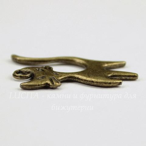 """Подвеска """"Кот"""" (цвет - античная бронза) 24х15 мм"""