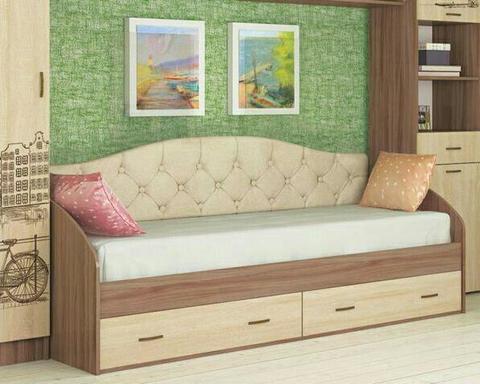 Кровать ОРИОН с ящиками и мягкой спинкой