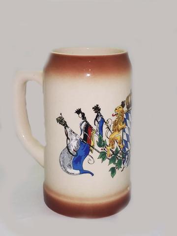 Кружка пивная керамическая, с рисунком Герб-Флаги,  1 л.