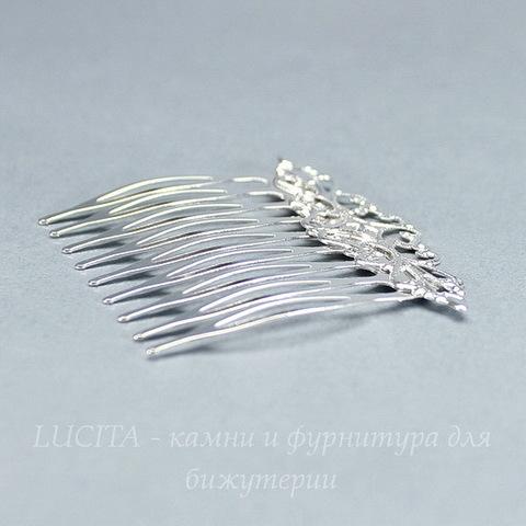 Гребень, основа для заколки с филигранью, 56х46 мм (цвет - серебро)