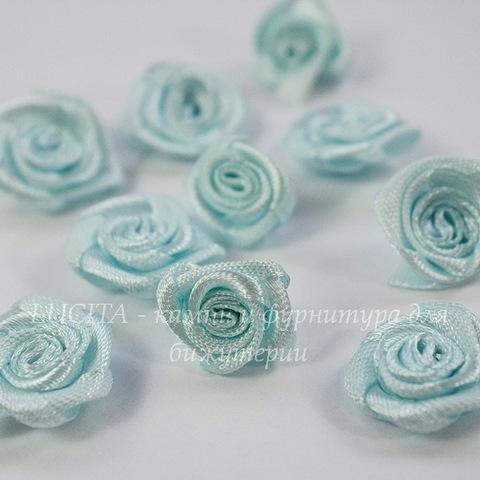 Роза атласная голубая 15 мм, 5 штук