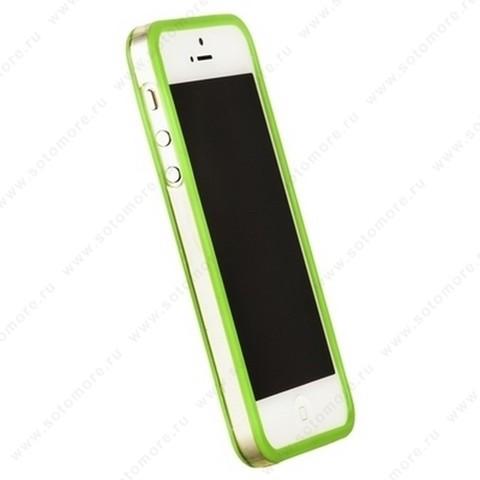 Бампер GRIFFIN для iPhone SE/ 5s/ 5C/ 5 салатовый с прозрачной полосой