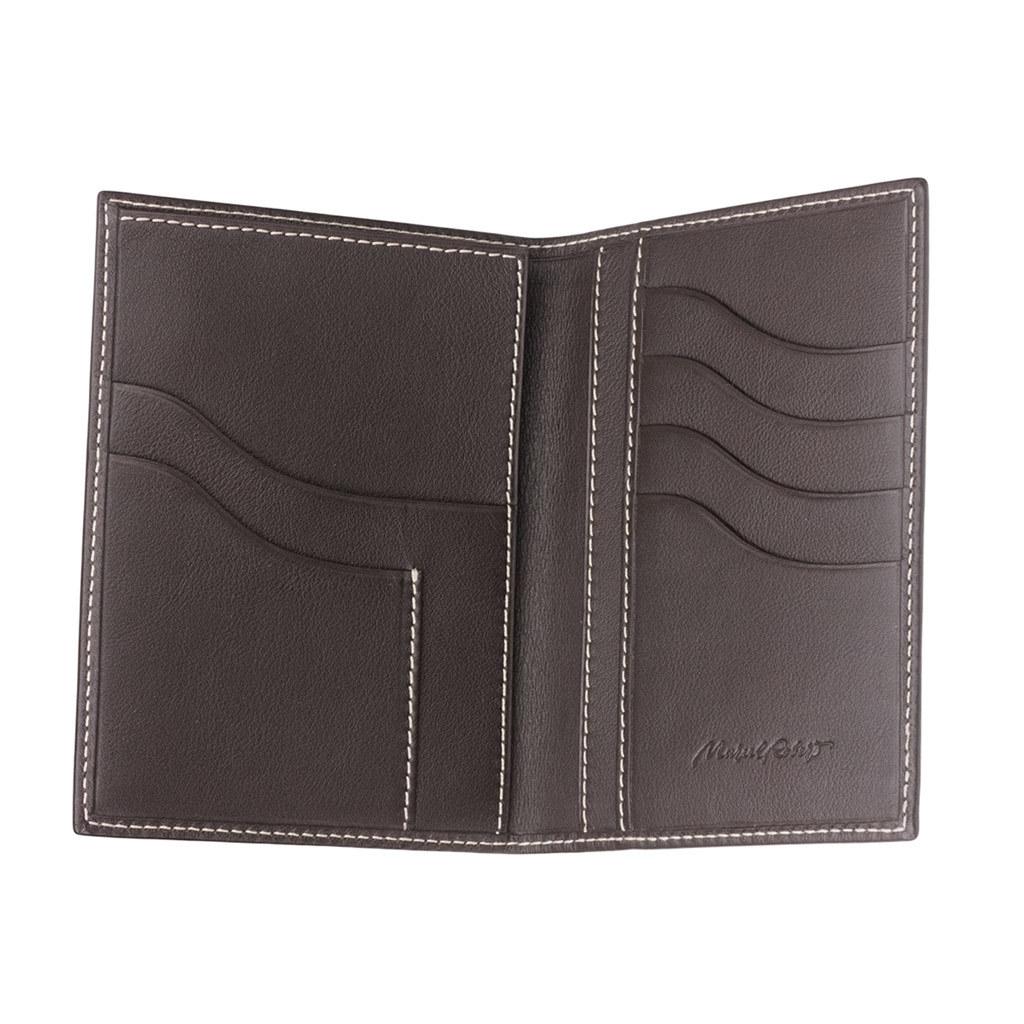 Обложка для паспорта и автодокументов Strasbourg Easy из натуральной кожи теленка, темно-коричневого цвета