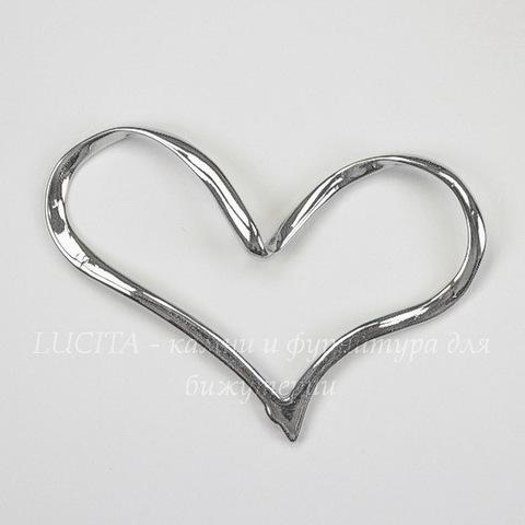"""Подвеска  """"Сердце большое"""" (цвет - никель) 60х50х5 мм"""
