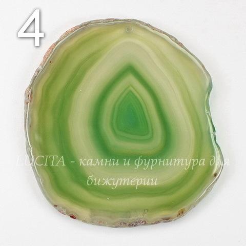 Подвеска Срез Агата (тониров)(цвет - оливковый) 43-76 мм (№4 (69х64 мм))