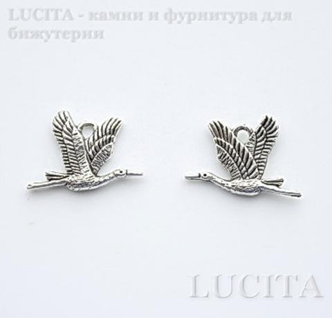 "Подвеска ""Журавль"" 21х14 мм (цвет - античное серебро)"