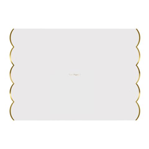 Подложки под столовые приборы, белый и золото, 24 шт.