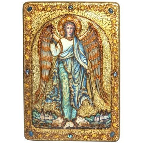 Инкрустированная большая икона Ангел Хранитель 42х29см на натуральном дереве в подарочной коробке