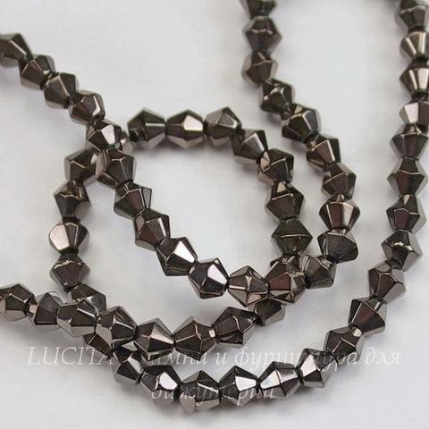 Бусина стеклянная, биконус, цвет - темно-серый металлик, 4 мм, нить