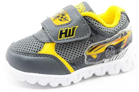 Светящиеся кроссовки для мальчиков Хот Вилс (Hot Wheels), цвет темно серый, мигают картинки сбоку и на липучках. Изображение 1 из 12.