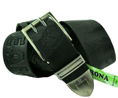 Мужской джинсовый ремень российского производства чёрный 40 мм из натуральной кожи с надписью и портретами 40Corona-038