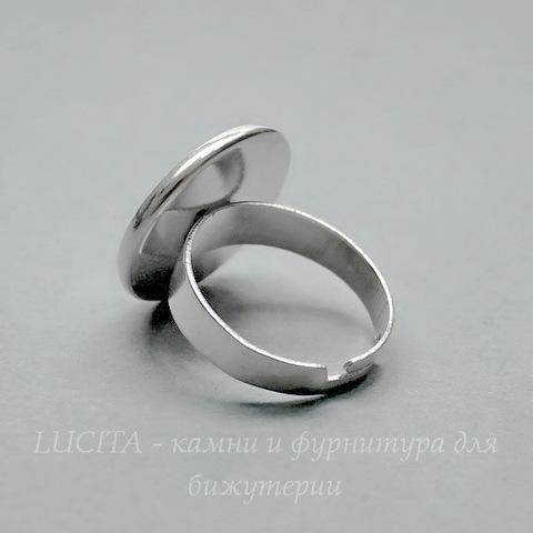 Основа для кольца (р-р 18) с сеттингом для кабошона 18 мм (цвет - серебро)