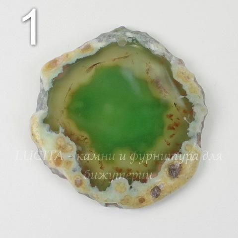 Подвеска Срез Агата (тониров)(цвет - оливковый) 43-76 мм (№1 (43х41 мм))