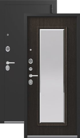 Тёплая дверь входная Легион L-1 NEW, 2 замка, 1,5 мм  металл, (серебро антик+орех премиум)