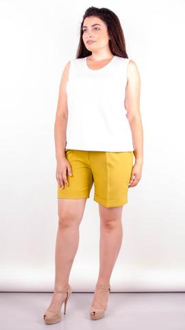 Юрмала. Стильные шорты больших размеров. Горчица.